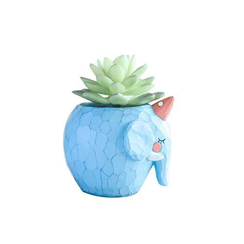 ulente Töpfe, Blumentöpfe Bulk Cute Animal Sukkulente Übertopf Blumentopf Decor für Home Office Schreibtisch Blauer Elefant ()