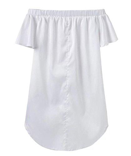 ASSKDAN Femmes Mini Robe Broderie Fleur épaule Nu Dos Nu Manche Courte Robe Courte d'été Blanc
