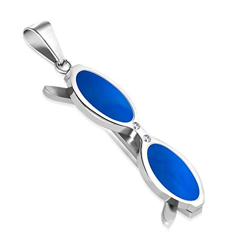 Schmuckprofessionals Edelstahl 2-Ton-Sonnenbrille Charm-Anhänger mit klaren CZ