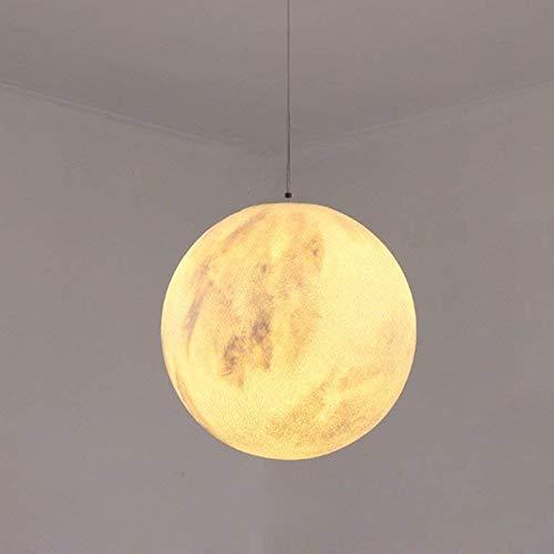 IBEST Moderne E27 Pendelleuchte Verstellbar Rund Hängeleuchte Kreativ Mond Planet Deckenleuchte Harz Eisen Lampe Weiß Metall Pendellampe Für Wohnzimmer Schlafzimmer, Ø40Cm