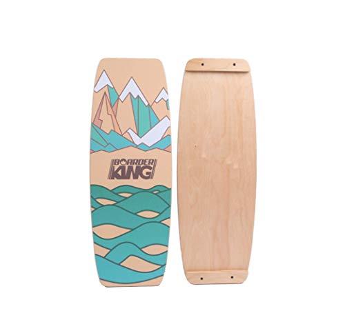 BoarderKING Indoorboard Limited Edition Berge Skateboard Surfboard Trickboard Balanceboard Balance Board (Wakeboard, 100 mm (Kork))