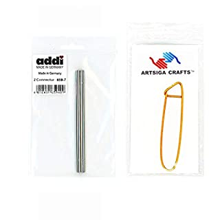 addi Click Interchangeable Cord Connector for Basic Set (1 Pair) Bundle with 1 Artsiga Crafts Aluminum Stitch Holder