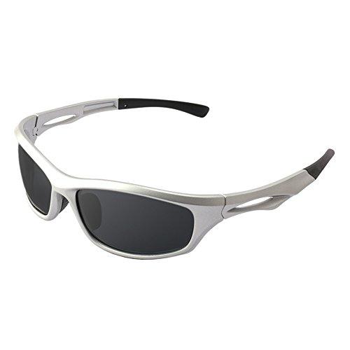 BELECOO Polarisierte Sport-Sonnenbrille, die Bequeme Sonnenbrille Damen Herren Radfahren Baseball-Laufen Fährt (Sonnenbrillen Baseball Silber)