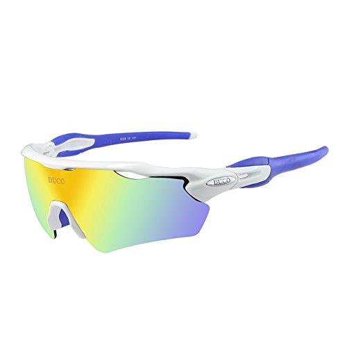 DUCO Polarisierte Sport Herren Sonnenbrille für Radfahren Ski Fahren Golf Laufen mit Tr90 Superlicht Rahmen, 5 Sätze von austauschbaren Linsen (Weiß)
