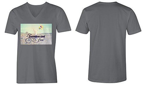 Die Gedanken Sind Frei 2 ★ V-Neck T-Shirt Männer-Herren ★ hochwertig bedruckt mit lustigem Spruch ★ Die perfekte Geschenk-Idee (06) dunkelgrau