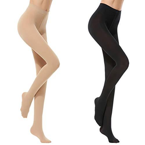 Vertvie Damen Strumpfhose Ultra-dünnen Feinstrumpfhose oder blickdichte Thermostrumpfhosen 1/3er Pack(Schwarz + Hautfarbe d, One Size)
