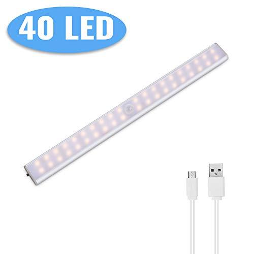 Lacyie Schrankleuchten 40 LEDs Schrankleuchte mit Bewegungsmelder USB Kabellosen Wiederaufladbare 3 Modi Auto On/Off Magnetisch Schranklampe f