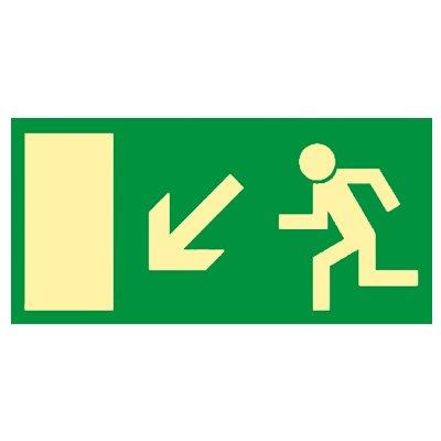 Rettungsweg links abwärts - Fluchtweg - Notausgang - Rettungsschild - Rettungszeichen Kunststoff nachleuchtend selbstklebend 297 x 148 mm