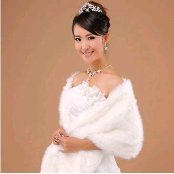 Tb koop elegante capelli lunghi in pelliccia sintetica di matrimonio stola involucri del capo per donne (bianco)