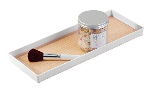 Mdesign vassoio bagno in plastica rifinito in legno per conservare profumi gioielli - Accessori bagno plexiglass amazon ...