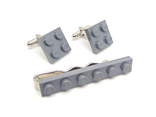 Gris véritable plaque de Lego Pince à cravate et boutons de manchette - Funky rétro Cool Boutons de manchette fabriqué par Jeff Jeffers