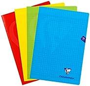 Clairefontaine 294161AMZ - Un lot de 4 cahiers piqués Mimesys 96 pages 21x29,7 cm 90g grands carreaux, couvert