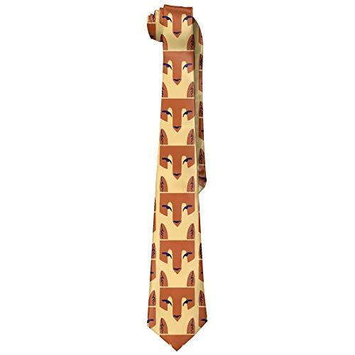 Head Fox Kostüm - Zero Red Fox Head Men's Tie Long Krawatte Skinny Neckwear Silk