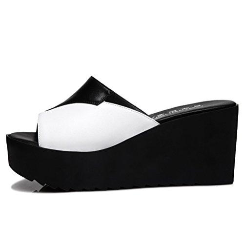 Sommer Slip-on Aufzug Kühle und Modische Sandalen Dicke Boden Keilabsatz Schwarz und Weiß Slippers Schwarz