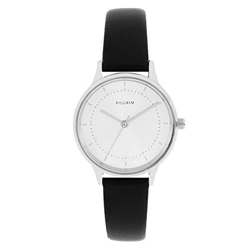 Pilgrim Damen Armbanduhr, Klassisch, Analog, Quartz, silber + schwarz Leder Bardot 701816114