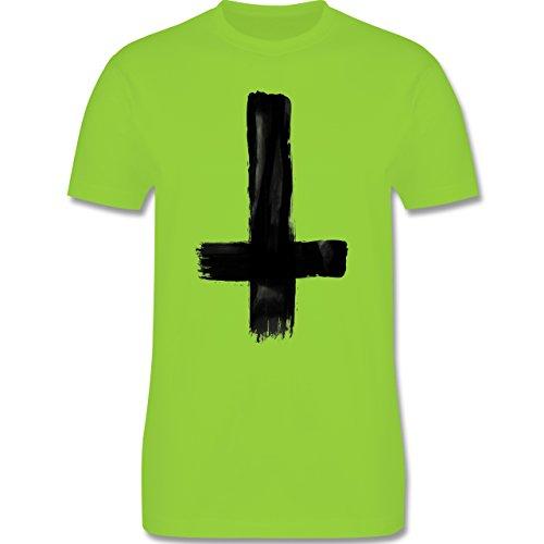 Symbole - Umgedrehtes Kreuz Vintage - Herren Premium T-Shirt Hellgrün