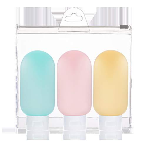 Reiseflaschen, auslaufsicherer Kosmetik-Make-up-Flüssigkeitsbehälter für Shampoo/Körperpflege/Lotion/Conditioner 3St