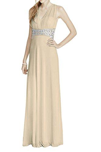 La_Marie Braut Elegant Steine Neckholder Steine Abendkleider Promkleider Abschlussballkleider Lang A-linie Rock Champagner