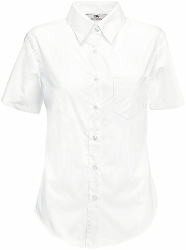 Fruit Of The Loom Lady-Fit Poplin Bluse, kurzarm X-Large,White