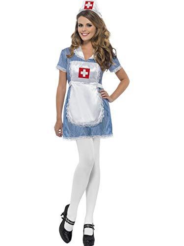 Halloweenia - Damen Frauen Vintage Retro traditionelles Krankenschwester Kostüm mit Kleid, Schürze und Haube, perfekt für Karneval, Fasching und Fastnacht, XL, Blau