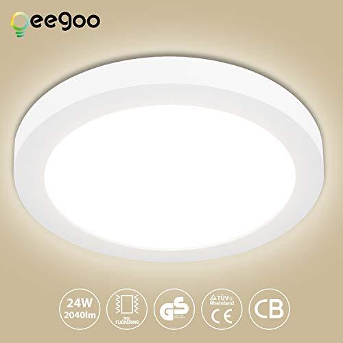 Oeegoo 24W LED Plafón de Superficie Ronda Lámparas de Techo 2040 Lúmenes Reemplaza Bombilla Incandescente 180W RA> 80 Blanco Natural(4000-5000K) Φ29*H1.3CM para Dormitorio Cocina Sala estar Comedor