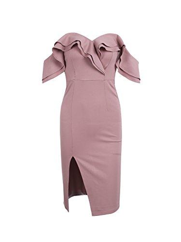 Simplee Apparel Damen Partykleid Elegant Schulterfrei Bodycon Spilt Knielang Kleid Cocktailkleider Abendkleid mit Rüschen (Rüschen Kleid)