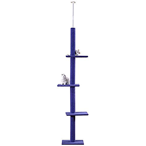 QNMM Cat Activity Tree, Kratzbaum Cat Climbing Tower mit Cat Tree Scratcher Activity Center,Blue