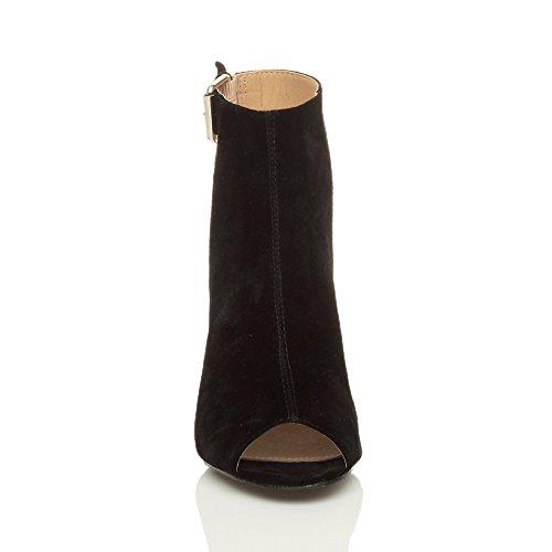Femmes Haut Talon Ouvert Bout Pointu Chaussures À Boucle Boutonnée Sandales Bottes Nombre Black Suede