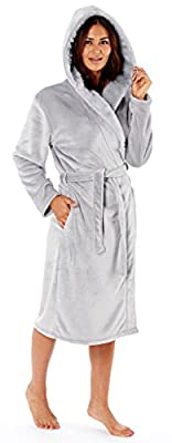 Ladies Flannel Fleece Dressing Gown Hooded Grey Cream Luxury Fur Robe Velvet Tie Waist