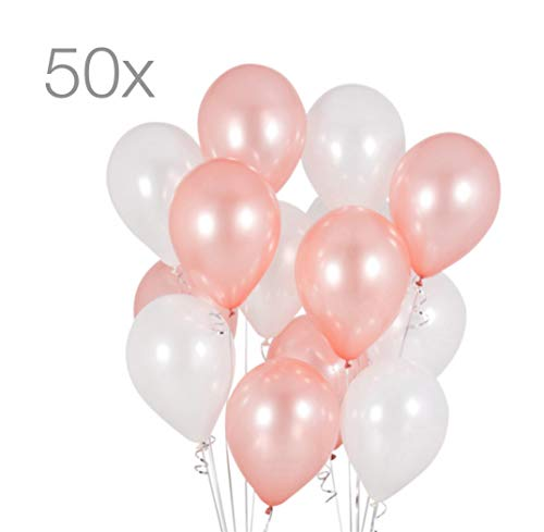 TK Gruppe Timo Klingler 50x Luftballons Ø 35 cm Luftballon Ballon Gold Rose Rosegold Pearl weiß Weiss metallic Latexballons für Helium und Luft (Rose-Pearl-Mix) (Ballons Und Rosen)