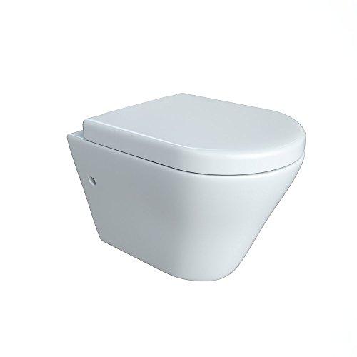 Design Wand Hänge WC ohne Spülrand Spülrandlos Toilette Sitz Softclose hängend 5
