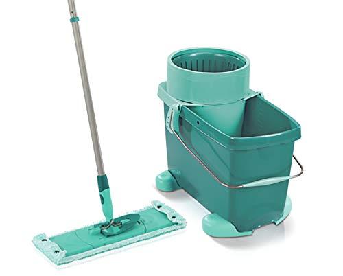 Leifheit Set Clean Twist XL, inkl. Rollwagen, schonender Bodenwischer für sensible Böden, Wischer mit Schleudertechnologie, Schrubber für Rundum-Reinigung