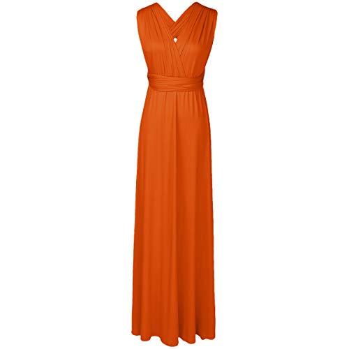 IBTOM CASTLE Transformer-Kleid, lang Sommerkleider Strandkleid CocktailKleid Mutterschaft Fotografie Kleid Damen Abendkleid Maxi-Kleid Orange XS(EU 32)