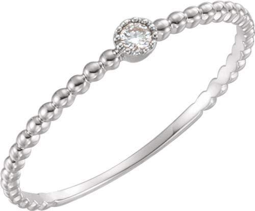 14kt Weiß 0,03ctw Diamanten Perle Design Ring Größe 7