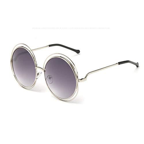 GJYANJING Sonnenbrille Vintage Runde Große Größe Übergroße Linse Spiegel Sonnenbrille FrauenMetallrahmen DameSonnenbrilleLady Cool Retro