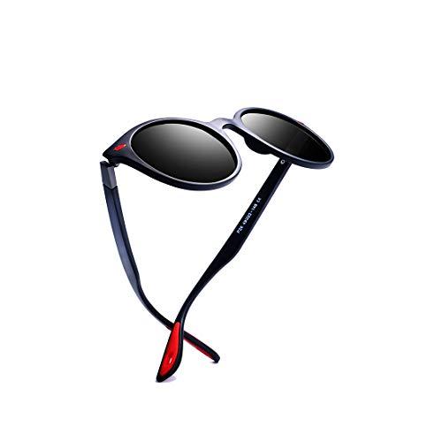 kimorn polarisiert Sonnenbrille Unisex Ovaler Rahmen Klassisch rot Gummi Brille K0625 (Matt-blau&Grau)