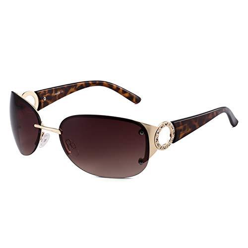 Taiyangcheng Polarisierte Sonnenbrille Frauen Shades Sonnenbrille Markendesigner Vintage Randlose Sonnenbrille Männer Ring Stil Deko Diamant Eingebettet Breite Beine,Tee