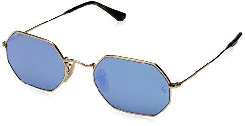 Ray-Ban Unisex-Erwachsene Sonnenbrille Octagonal Flat Lenses, Gold/Lightblueflash, 53