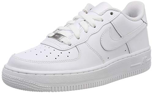 Nike Unisex-Kinder AIR FORCE 1 (GS) Low-Top, Weiß (117 White), 37.5 EU -