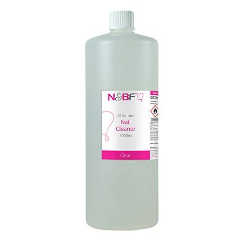 N&BF Nagel Cleaner Klar 1000ml = 1 Liter - für Gelnägel - Nagelreiniger - Nail-Cleaner - 70% Ethanol-Alkohol kosmetisch rein in Studioqualität zum Entfetten und Reinigen - Made in Germany (Uv Nail Cleanser)