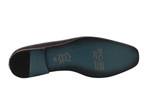 Herren Patent Smokey Pure Leder grau Wein glänzend Vintage Mod Quaste Slipper flach Smart Schlupfschuhe Burnt Maroon