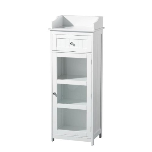 Bosco Floor Standing Cabinet Made Of High Quality White Wood With Chrome Handle