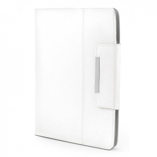 ROYALZ Hülle für Medion LifeTab X10607 (MD 60658) Tasche (10.1 Zoll) Schutz Case Cover Schutzhülle Schutztasche mit Aufsteller in hochwertiger Leder-Optik, Farbe:Weiß