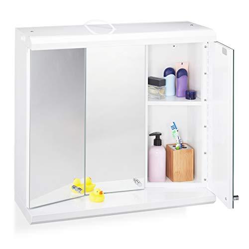 Relaxdays armadietto a specchio con led, 3 ante, 6 scomparti, presa elettrica, mobiletto pensile, acciaio, bianco, 58 x 60 x 23 cm