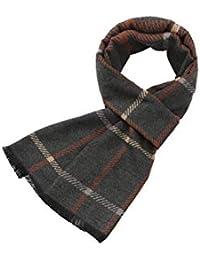 MMYOMI Mens Tartan Plaid Super Soft Cotone e seta sciarpe a maglia per  autunno e in 108f547a92a3