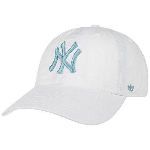 47 Brand Yankees CleanUp Strapback Cap Basecap Baseballcap Kappe Baumwollcap Cap Basecap (One Size - weiß-mint) (Anhänger Cap)