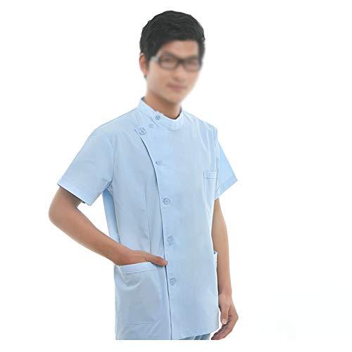 Medical Scrub Set Workwear Professionals Herren Double Pocket Anti-Wrinkle Gesundheitswesen Workwear Rundhals-Top + Cargo Pant Scrub Set,Blue,L - Cargo-kordelzug Uniform