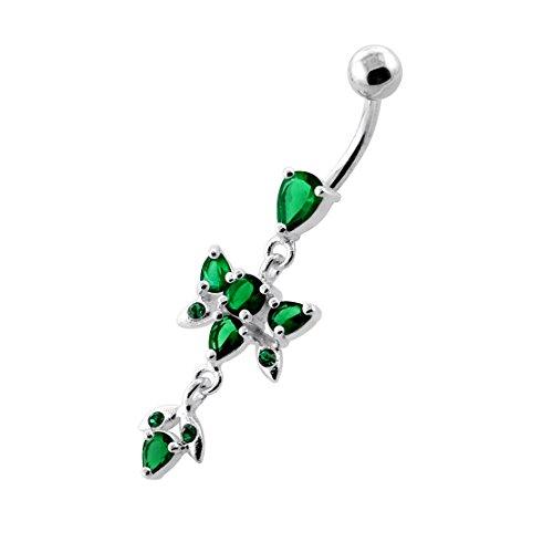 Papillon tendance Design 925 en argent Sterling Belly avec acier inox Dark Green