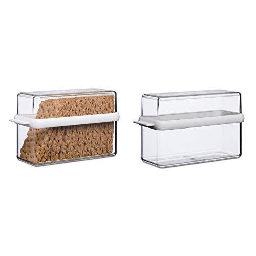 Mepal 106719030600 Knäckebrotdose Stora 1600 ml, Kunststoff, 21,7 x 9,2 x 12,9 cm, transparent/weiß (2 Stück)