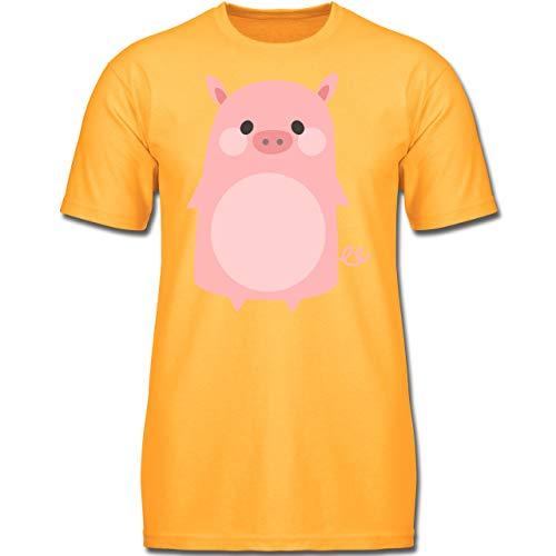 Karneval & Fasching Kinder - Fasching Kostüm Schweinchen - 152 (12-13 Jahre) - Gelb - F130K - Jungen Kinder T-Shirt